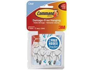 Clear Hooks & Strips, Plastic/Wire, Small, 9 Hooks w/12 Adhesive Strip