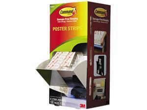 "Poster Strips, 3/4"" X 2 1/8"", White, 100/Carton"