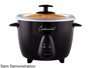 Continental Electric 12-Cup Cooked Rice Cooker with Glass Lid, Black CE23219