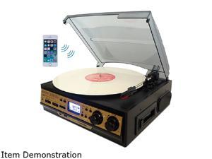 Boytone BT27GC Bluetooth Connection 3-speed Stereo Turntable 2 Built in Speaker, Black & Gold