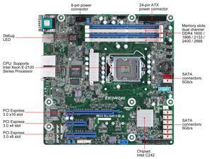 AsRock Rack E3C242D4U Micro ATX Server Motherboard LGA 1151 Intel C242