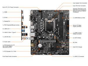 MSI H510M PRO LGA 1200 Intel H510 SATA 6Gb/s Micro ATX Intel Motherboard
