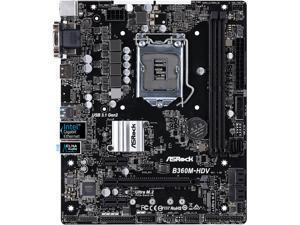 ASRock B360M-HDV LGA 1151 (300 Series) Intel B360 HDMI SATA 6Gb/s USB 3.1 Micro ATX Intel Motherboard