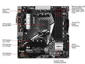 ASRock B450M PRO4-F AM4 AMD Promontory B450 SATA 6Gb/s USB 3.1 HDMI Micro ATX AMD Motherboard