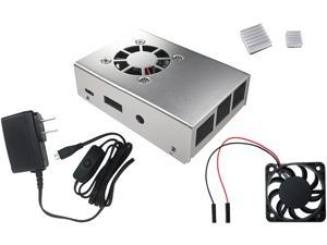 Micro Connectors RAS-PCS04PWR-SL Aluminum Raspberry Pi 3 Case for Model B/B+ with Fan, Heatsinks and UL Approved On/Off Power Adapter