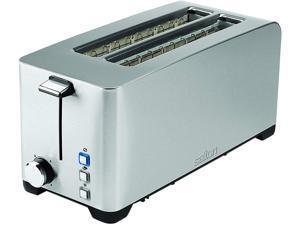 Salton Space Saving Long Slot 4 Slice Electric Toaster, Silver ET1817