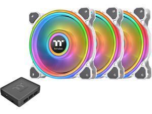 Thermaltake Riing Quad 140mm 16.8 Million RGB Color (Alexa, Razer Chroma) Software Enabled 4 Light Rings 54 Addressable LED 9 Blades Hydraulic Bearing White Case/Radiator Fan, 3 Pack, CL-F101-PL14SW-B
