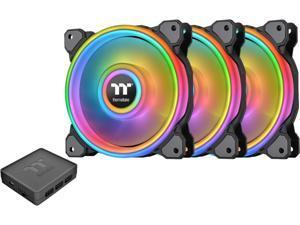Thermaltake Riing Quad 120mm 16.8 Million RGB Color (Alexa, Razer Chroma) Software Enabled 4 Light Rings 54 Addressable LED 9 Blades Hydraulic Bearing Case/Radiator Fan, 3 Pack, CL-F088-PL12SW-B