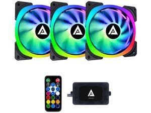Apevia LP314L-RGB Lunar Pro 140mm Silent Dual-Ring Addressable RGB Fan for Gaming with 4-Pin Control Box and RF Remote Control (3-pk)
