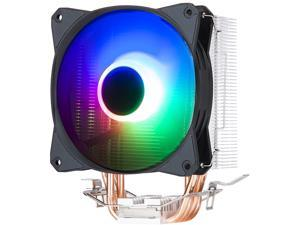 VICABO 120mm RGB Fan PC CPU Cooler Cooling Air Cooler, 4 Heatpipes, Anodized Black Aluminum Fins, Copper Insert, LED Lighting, for AMD/115X/775