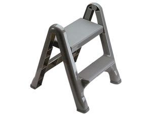 Rubbermaid 2 Step Slip Resistant Folding Plastic Stepstool with Foot Pads, Grey