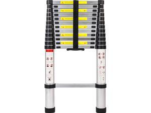 WayHope 12.5ft Aluminum Telescoping Telescopic Extension Ladder, for Changing Light Bulb, 330lbs Capacity