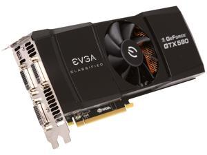 EVGA GTX 590 CLASSIFIED Limited Edition 3GB 768-bit GDDR5 PCI express 2.0 x16, 3xDual-Link DVI, DisplayPort,  HDCP Ready, QUAD SLI Ready, PhysX, 3D Vision Surround Support Video Card, 03G-P3-1598-AR