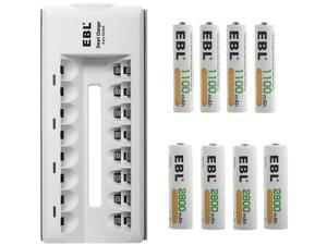 EBL AA AAA Rechargeable Batteries (4-Pack, 1100mAh + 4-Pack, 2800mAh) with 8 Bay Battery Charger for AA AAA Ni-CD Ni-MH Replacement Battery