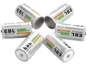 EBL 6 Pack Size C R14 Battery 1.2V 5000mAh Ni-MH Rechargeable Batteries