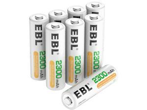 EBL 8 Pack 2300mAh AA Ni-MH Rechargeable Batteries, Battery Case Included