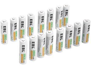 EBL 16 Pack AA Batteries 2800mAh High Capacity Precharged Ni-MH AA Rechargeable Batteries
