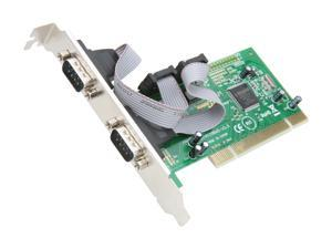 SYBA 2 DB-9 Serial (RS-232, COM) Ports PCI Controller Card, Netmos 9865 Chipset Model SY-PCI15004