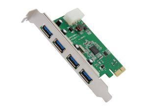 SYBA USB 3.0 4 External Ports PCI-e Controller Card with Molex Power Feed, Etron Chipset Model SY-PEX20136