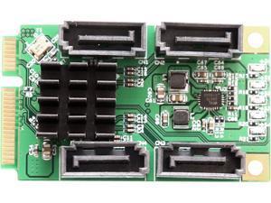 SYBA SI-MPE40125 4 Port SATA III Mini PCI-e Expansion Card Marvel 9215 Chipset