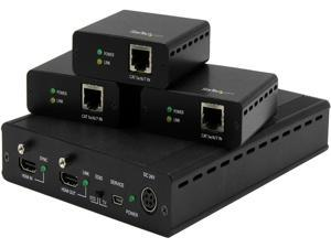 StarTech.com 3-Port HDBaseT Extender Kit with 3 Receivers - 1x3 HDMI over CAT5 Splitter - Up to 4K ST124HDBT