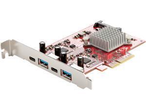 4-Port USB PCIe Card, 10Gbps USB PCI Express Expansion Card w/ 2 Controllers, 2x USB-C & 2x USB-A ports (USB 3.2/3.1 Gen 2), USB/USB-C PCI-e Card, Full Profile Brackets - USB PCIe Add-On Card (PEXUSB3