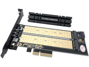 Micro Connectors M.2 NVMe + M.2 SATA 110mm SSD PCIe x4 Adapter with Heat Sink Model PCIE-M21101HS