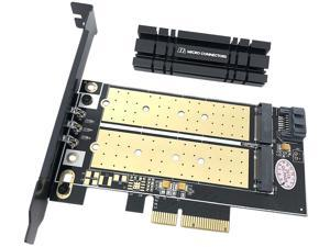 Micro Connectors M.2 NVMe + M.2 SATA 80mm SSD PCIe x4 Adapter with Heat Sink Model PCIE-M20802HS