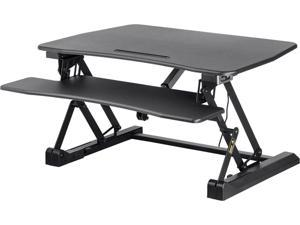 """Monoprice Electric Sit-Stand Riser Desk Converter - Black (35.4 x 23.2in) Table Top for Single Display, Height Adjustable 5.9""""-18.9"""""""