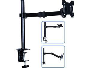 AIMEZO Single Monitor Stand Desk Mount - Fully Adjustable Stand with C Clamp/Grommet Mounting Base, Articulating Monitor Arm for 17-32 Inch Computer Screen, Holds up to 17.6 lbs.