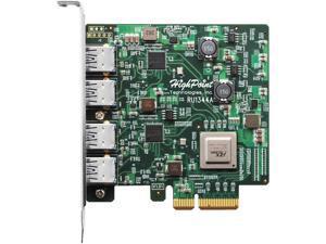 HighPoint RocketU RU1344A PCI-Express 3.0 x4 Full Height 4 x 10Gb/s Ports, Gen 2 USB 3.1 HBA