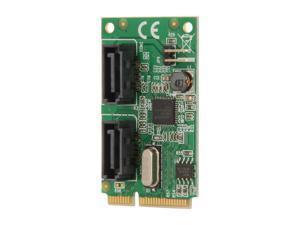 SYBA 2-Port SATA 6G Card, Mini PCI-Express Form Factor, non-RAID, ASM1061 Chipset Model SD-MPE40056