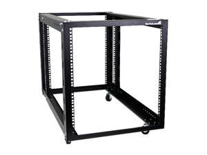 StarTech.com 4POSTRACK12A 12U 4 Post Server Equipment Open Frame Rack with Adjustable Posts & Casters