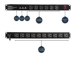 StarTech.com RKPW161915A 19in 1U Rackmount 16 Outlet PDU Power Distribution Unit 125V 15A (12A UL)