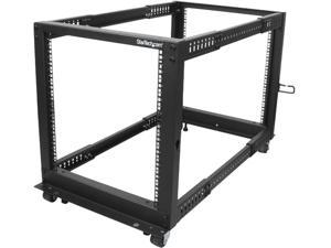 StarTech.com 4POSTRACK12U 12U Adjustable Depth Open Frame 4 Post Server Rack w/ Casters / Levelers and Cable Management Hooks