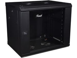 Rosewill RSWM-9U001 9U 450mm Deep Single Section Wall Cabinet, Toughened Front Glass Door and Solid Side Panels with Lock