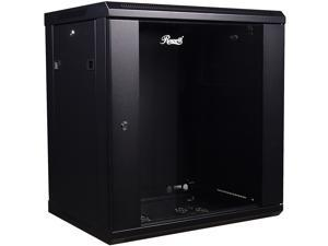 Rosewill RSWM-12U001 12U 450mm Deep Single Section Wall Cabinet, Toughened Front Glass Door and Solid Side Panels with Lock