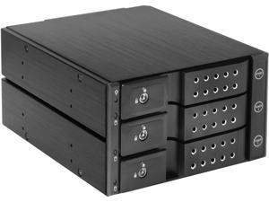 """iStarUSA BPN-DE230P-BLACK Trayless 2x 5.25"""" to 3x 3.5"""" 12Gb/s HDD Hot-swap Rack with Independent HDD Power Switch"""