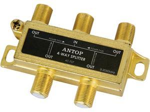 ANTOP Coaxial Splitter 4 Way 2GHz- 5-2050MHz - Low-loss RF Splitter for TV and Satellite - 18K Gold-plated chassis - All Port DC Power Passing
