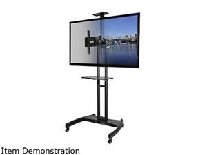 Kanto MTM65PLW Height Adjustable Mobile TV Stand with Adjustable Shelf for 37-inch to 65-inch TVs, White