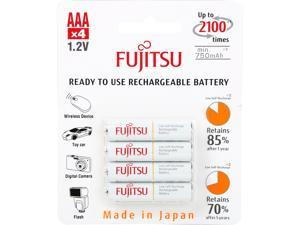 Fujitsu AAA 800mAh 2100 Cycles Ni-MH Pre-Charged Rechargeable Batteries 4-Pack (Made in Japan)