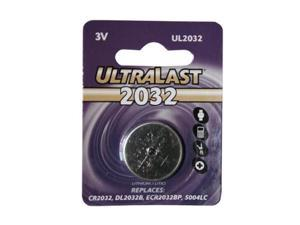 ULTRALAST UL2032 1-pack 210mAh 2032 Lithium Coin Cell Batteries