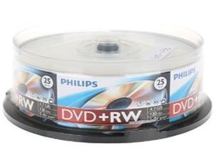 PHILIPS 4.7GB 4X DVD+RW Logo 25 Packs Spindle Disc Model DW4S4B25F/17