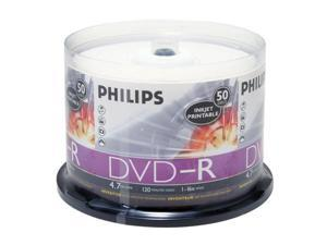 PHILIPS 4.7GB 16X DVD-R Inkjet Printable 50 Packs Disc Model DM4I6B50F/17