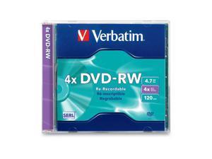 Verbatim  4.7GB  4X Branded DVD-RW  Single  Jewel Case  Disc Model 94836 - Retail
