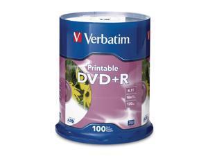 Verbatim DVD+R 4.7GB 16X Branded White Inkjet, 100pk Spindle