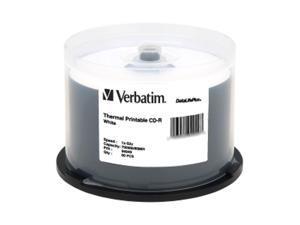 Verbatim CD-R 80MIN 700MB 52X DataLifePlus White Thermal Printable, 50pk Spindle (also Everest & Prism Printer Compatible)