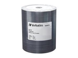 Verbatim DataLife Plus 700MB 52X CD-R White Thermal Hub Printable 100 Packs Discs in Plastic Wrap Model 97018