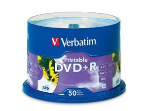 Verbatim 4.7GB 16X DVD+R White Inkjet Printable with Branded Hub 50 Packs Disc Model 95136