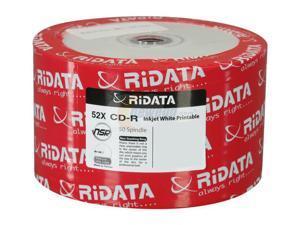 RiDATA 700 MB 52X CD-R Inkjet White Hub Printable 50 Packs Disc Model R80JS52-RD-IWN50